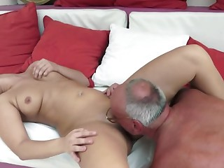 A sexy slut with a big butt is fucked hard by an grey dude really well