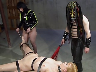 Leathered up goddess and say no to partner cover their slave in elongate