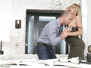 Young secretary in glasses Katrin Tequila is fucked hard by horny boss