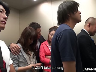 Crazy Japanese elevator group video featuring yummy naughty pet Aoi Miyama