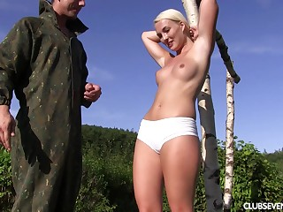 Hardcore outdoor blowjob and a fuck with flaxen-haired tot Lovita Fate