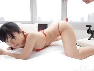 Asian girl spreads her legs be useful to a friend's cock while she screams