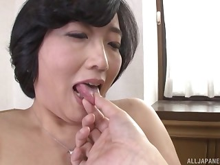 Asian Toyokawa Mutsumi gets will not hear of hairy pussy pleased by a dude