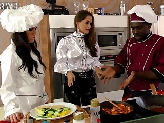 Horny chef stud turns a cooking lesson into a hot interracial scene