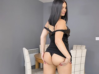 Leave high brunette Roxee Couture gets rid of black dress to pet herself