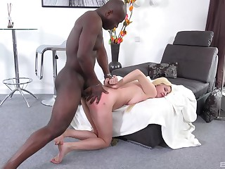 Blondie feels the dark-skinned stud dominating her pain about the neck about steely XXX