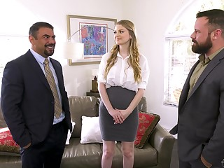 Babe fucks will not hear of way in the matter of business deals together with she loves MMF threesomes