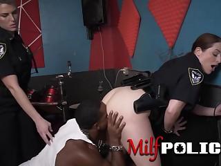 Big breasted female cops punish malignant toff