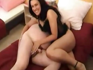 Lewd natural brunette is ready to treat senior mendicant with some handjob