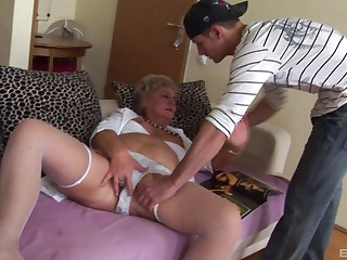 Dirty granny loves having a younger dick around her grey love tube