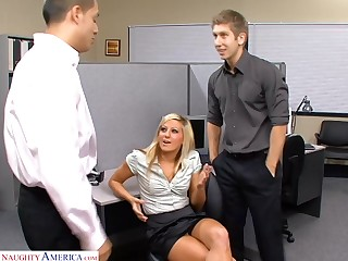 Sexy office drab Lily Kingston is down for some threeway