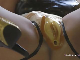 Dirty solo model Valentina Nappi wears latex coupled with masturbates