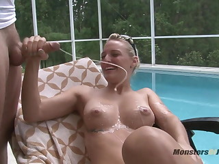 Hot Flaxen-haired Sucks Dick By the Pool