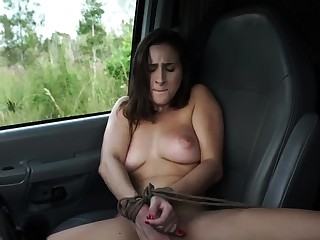 French maid bondage added to huge dildo domination This far-out