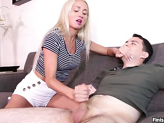 Blonde amateur works her impersonate brother's dick nigh the hands