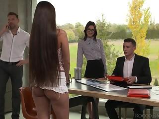 Nerd secretary Mina K gets double penetrated tick cunnilingus