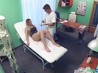 Spy cam in along to doctor's office records while Katy Pearl rides him