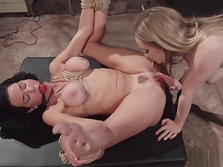 Busty lezdom whips with an increment of anal fucks babe