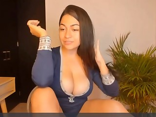 Busty amateur babe on webcam