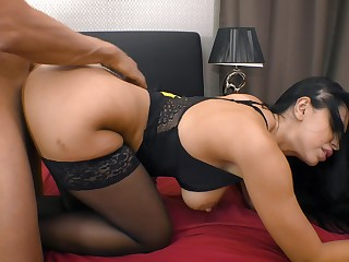 Zealous busty brunette Kira Queen exclusively enjoys riding sloppy cock