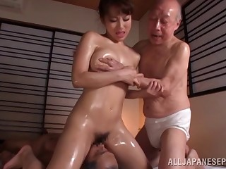 Oiled Japanese model fucked by a handful of guys at the same time - Mao Kurata