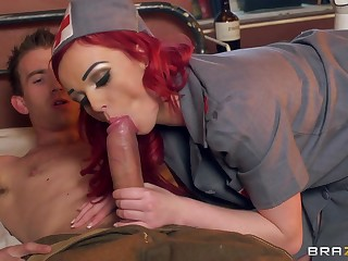 Redhead bombshell Jasmine James moans with pleasure from sex