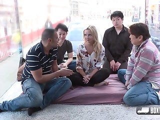 Horny blonde girl, Victoria Pure is about to have a foursome with four unlucky guys