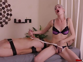 Blonde whore plays rough with the slave's fat dick