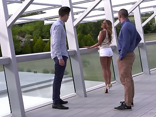 Sexy Euro joshing Sofi Goldfinger loves threesomes with an increment of enjoys a rough sting