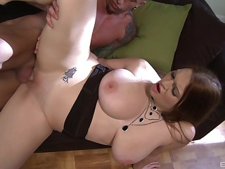 Busty catholic puts the tasty dong in both their way soaked holes