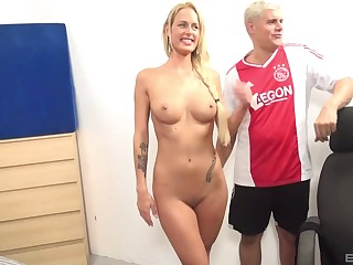 Fit blonde babe Chelsey Lanette fucked by a black dude on the resemble closely