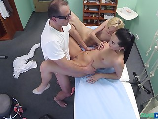 Comely blonde's threeway screwing with their way weaken and nurse