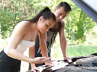 Insatiable Czech brunette, Ashley Woods got down and dirty with her friend, in the nature