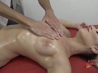 Oiled massage and constant sex for hot blonde