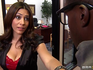 Interracial sex on the office table take facial for MILF Raylene