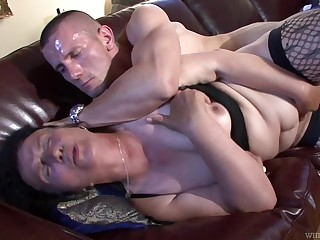 Ugly grown-up whore fucks anyone that's younger than her together with she's so nasty