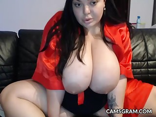 Stunning Huge Knockers Fat Plays Close by Her Arousing Body