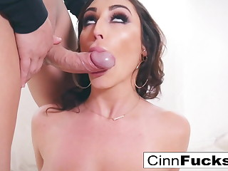 Christiana Cinn gets her mouth and pussy filled with a big