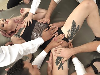 Hardcore gangbang video featuring sexy transsexual Lena Kelly
