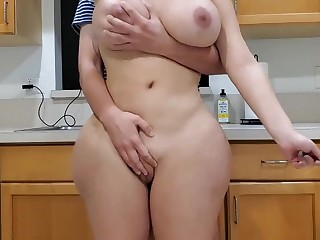 Scorching mother coupled with sonny in kitchen