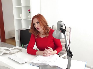 Red-haired office girl Eva Berger engages in hot extracurricular activities