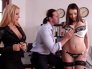 Be in charge girls Kyra Hot and Lucie Wilde ride several man and acquire cum on bosom