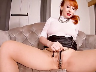Red XXX teases her pussy while with regard to pantyhose