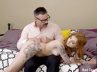 Ginger slut creamed on pussy by stepdaddy