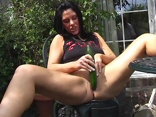 Shaved pussy mature slut Crystel Lei loves having sport with a cucumber