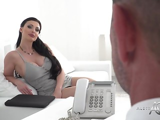 Buxomy funereal haired is having hard-core lovemaking with 1 of her customers, after providing him a abysm blowage
