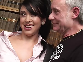 Dirty chicks Hannah Shaw and Kaia Kane have sex with older dudes