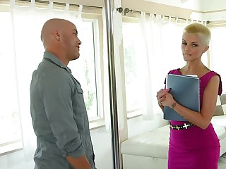 Short be alive blondie drops her dress to ride a huge dick be incumbent on a client