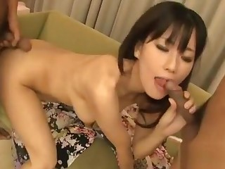 Threesome with one Asian wet pussy